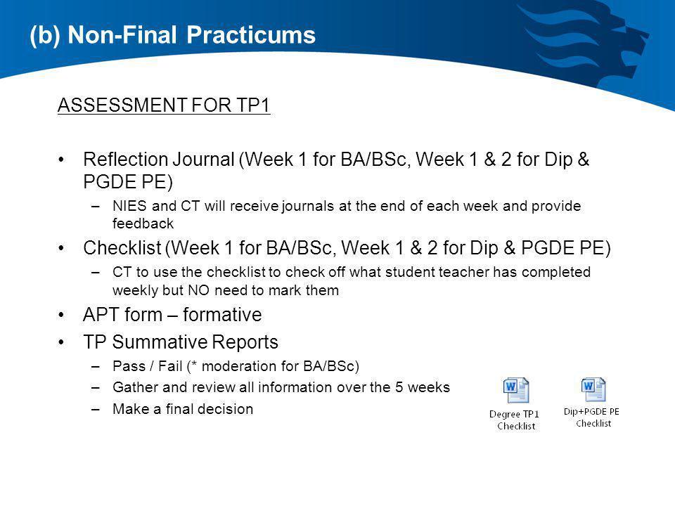 (b) Non-Final Practicums
