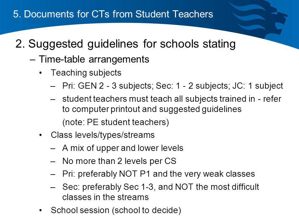 5. Documents for CTs from Student Teachers
