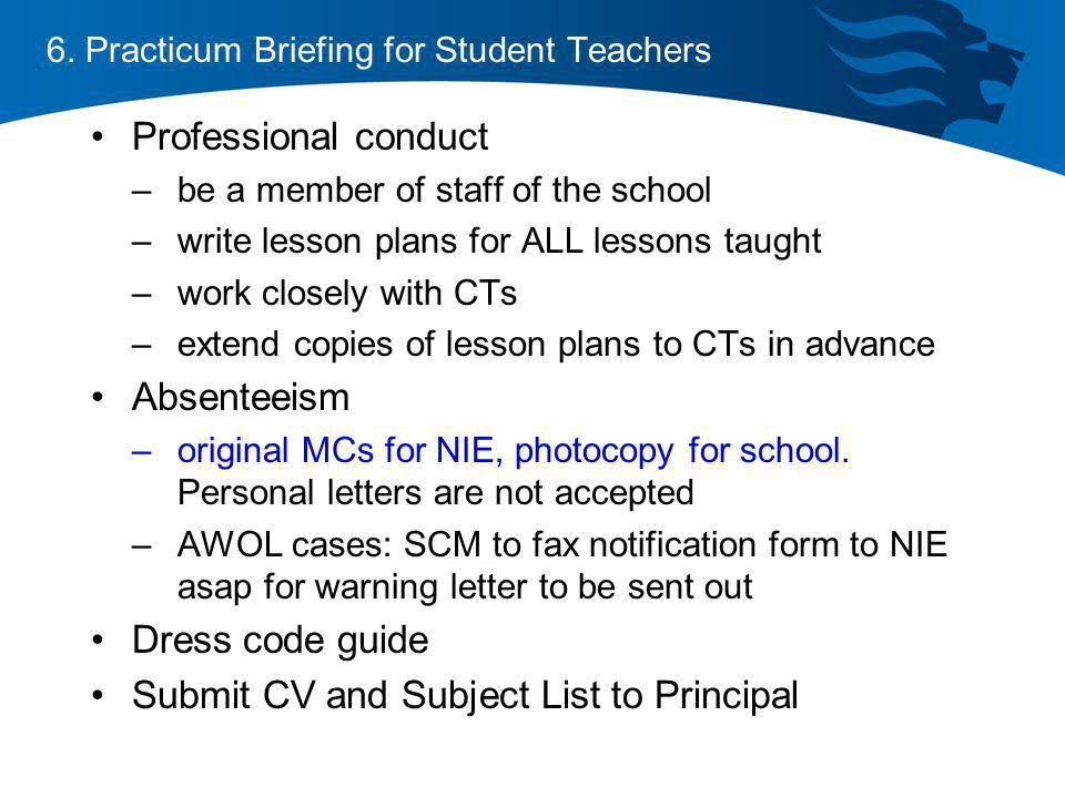 6. Practicum Briefing for Student Teachers