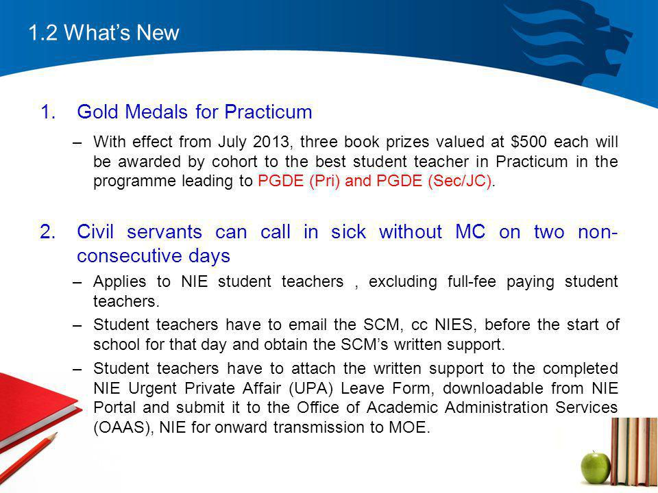 1.2 What's New Gold Medals for Practicum