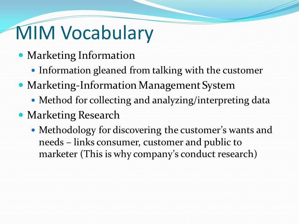 MIM Vocabulary Marketing Information