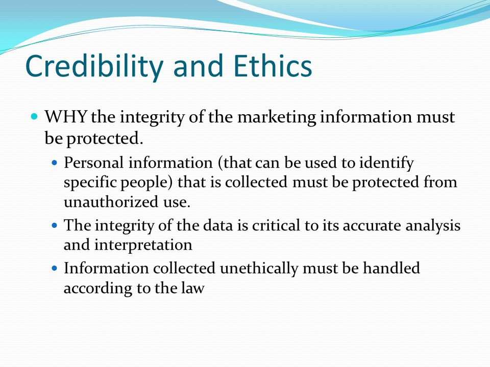 Credibility and Ethics