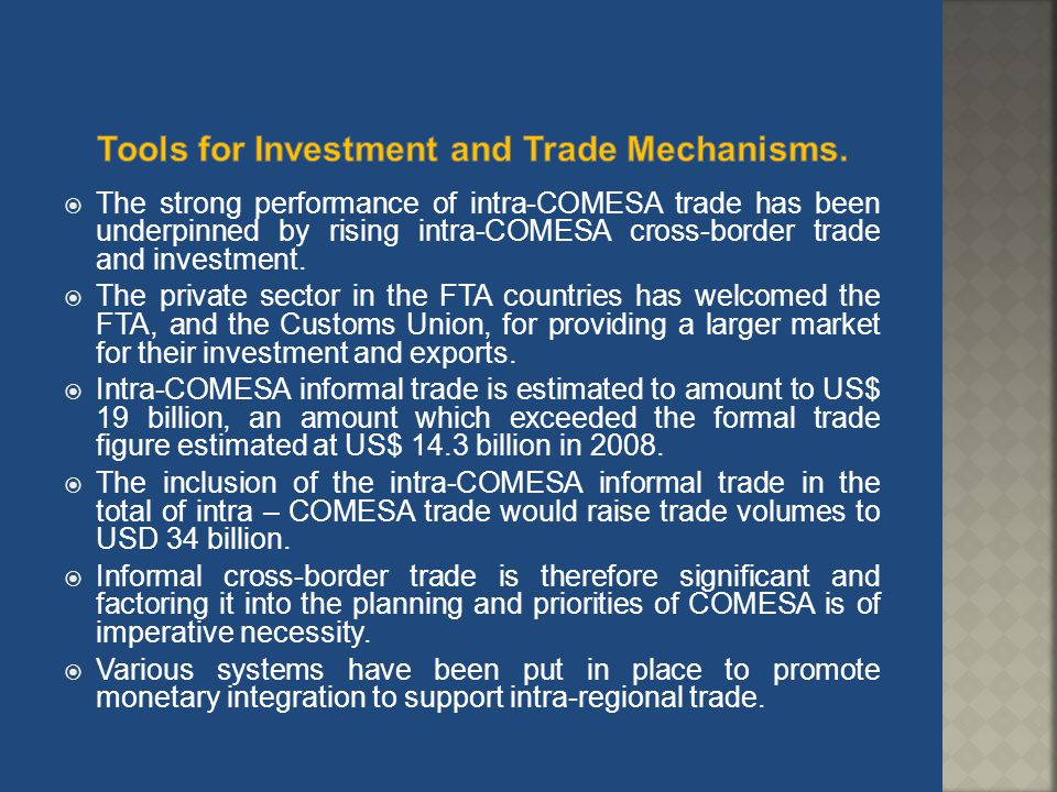 Tools for Investment and Trade Mechanisms.