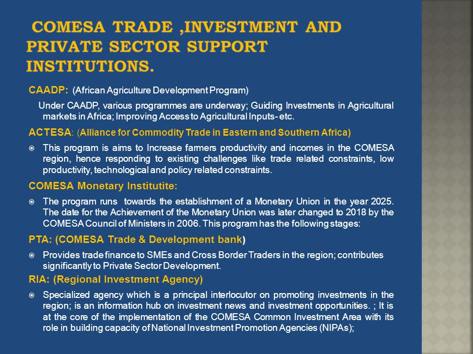 COMESA TRADE ,Investment AND PRIVATE SECTOR Support Institutions.