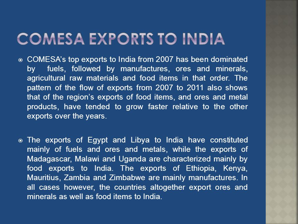 COMESA EXPORTS TO INDIA