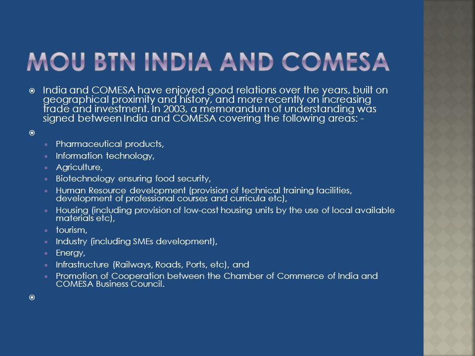 MOU BTN INDIA AND COMESA