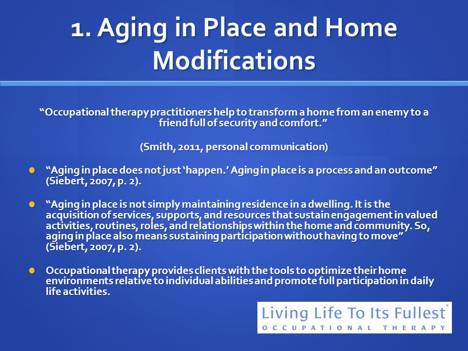 1. Aging in Place and Home Modifications