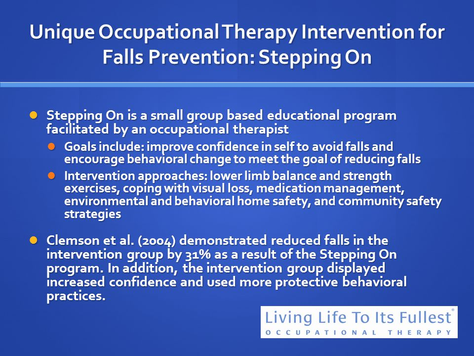 Unique Occupational Therapy Intervention for Falls Prevention: Stepping On