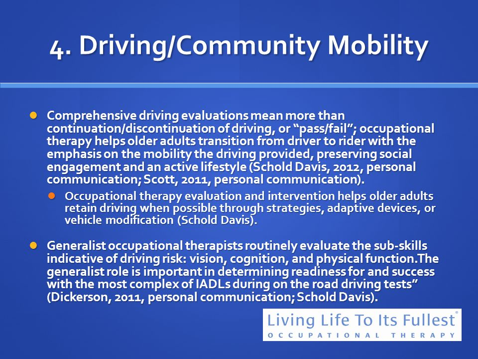 4. Driving/Community Mobility