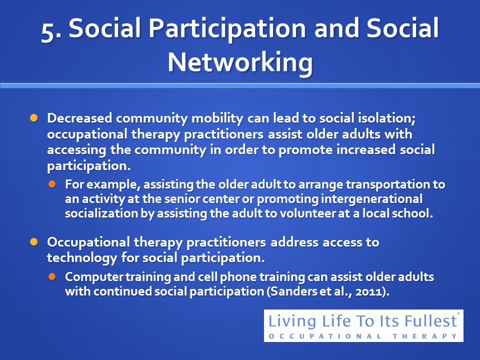 5. Social Participation and Social Networking