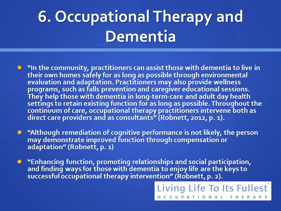6. Occupational Therapy and Dementia