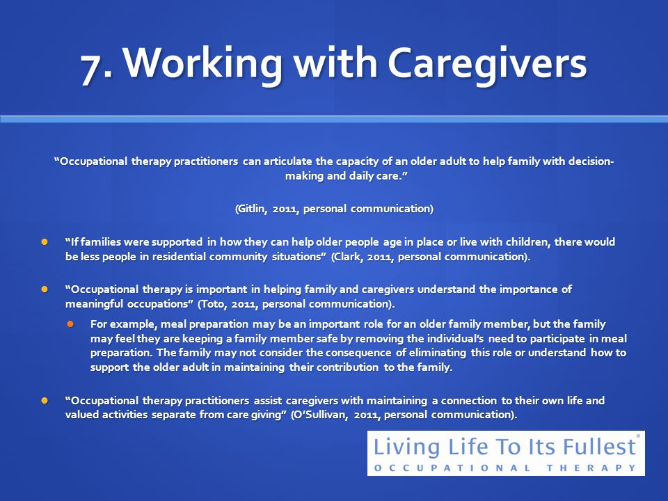 7. Working with Caregivers