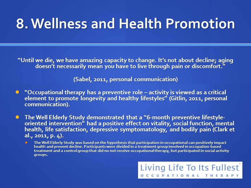 8. Wellness and Health Promotion