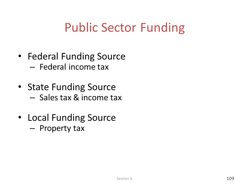 Public Sector Funding Federal Funding Source State Funding Source
