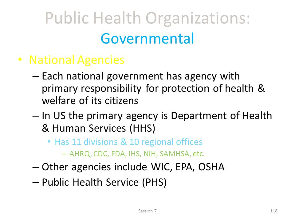 Public Health Organizations: Governmental