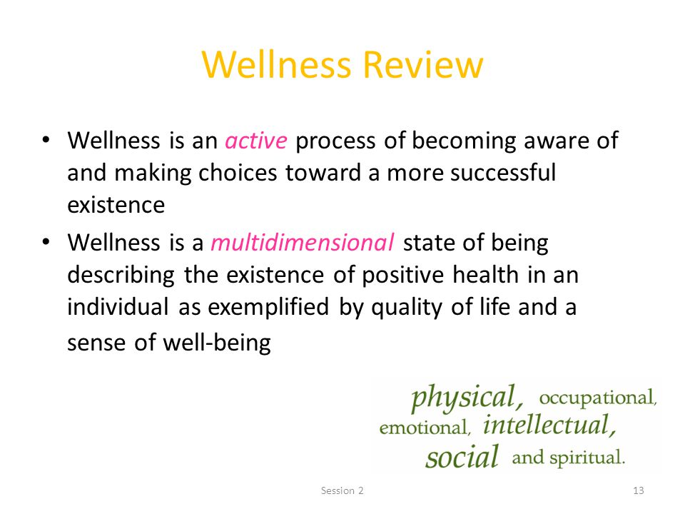 Wellness Review Wellness is an active process of becoming aware of and making choices toward a more successful existence.