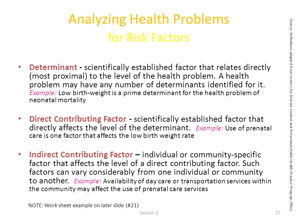 Analyzing Health Problems for Risk Factors