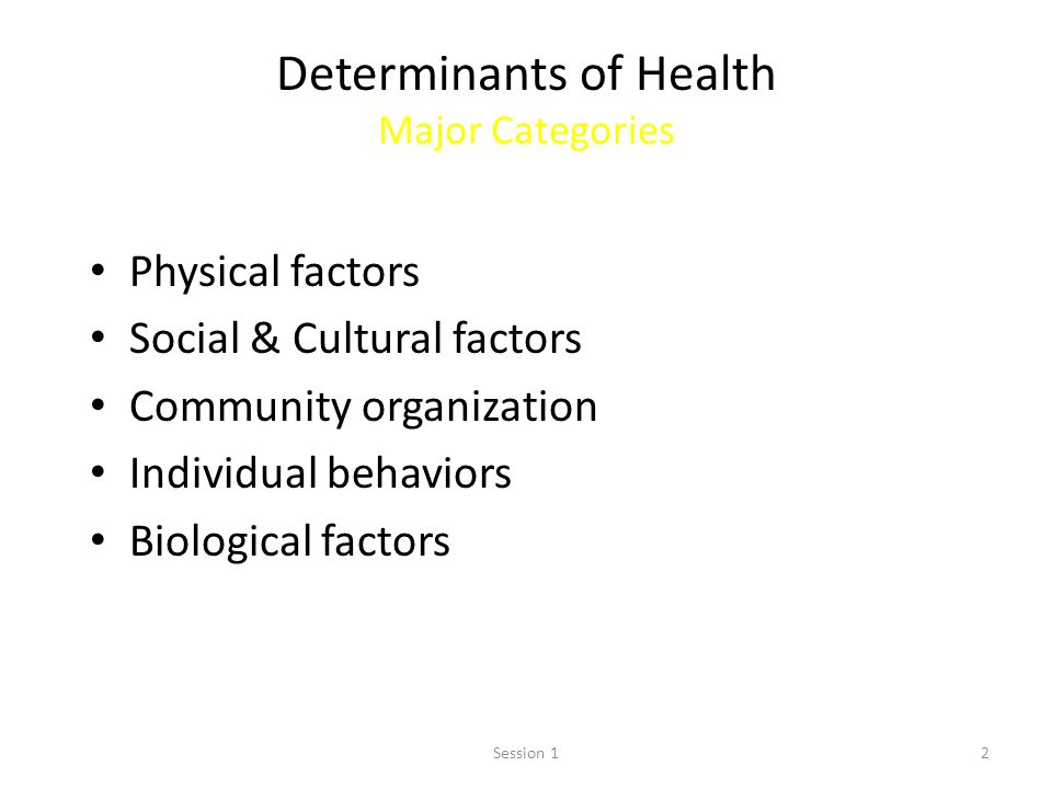 Determinants of Health Major Categories
