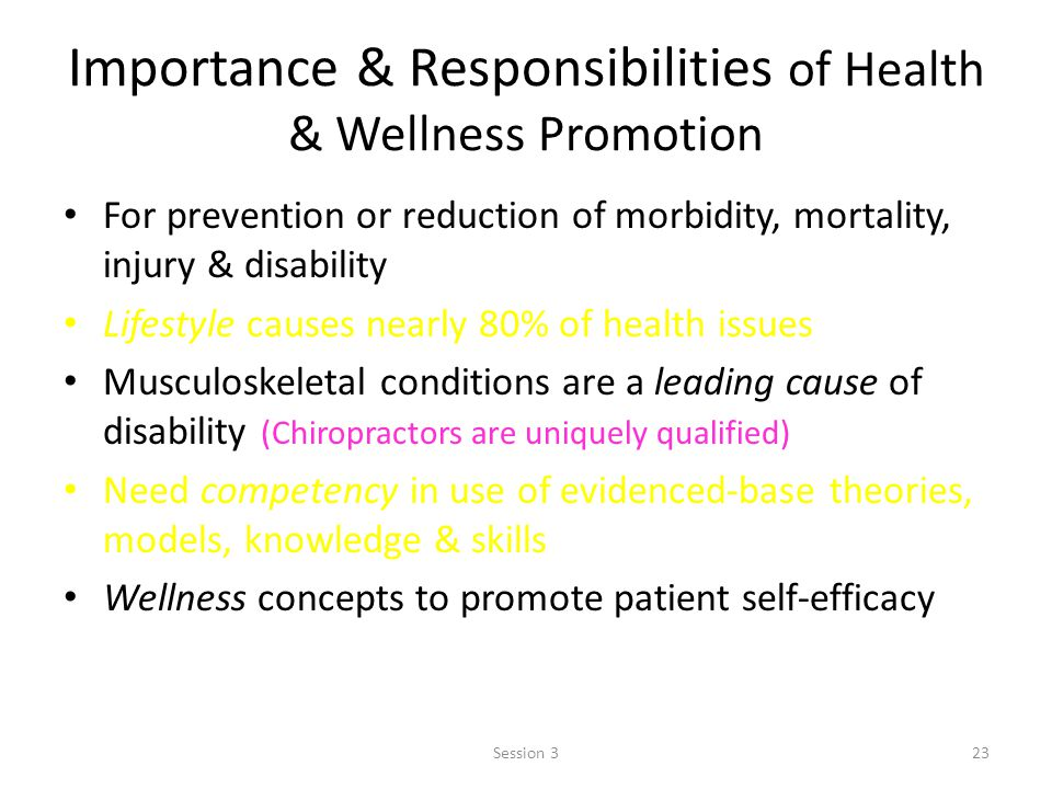 Importance & Responsibilities of Health & Wellness Promotion