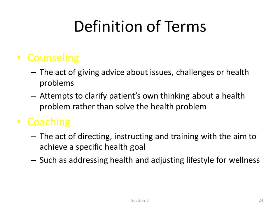 Definition of Terms Counseling Coaching