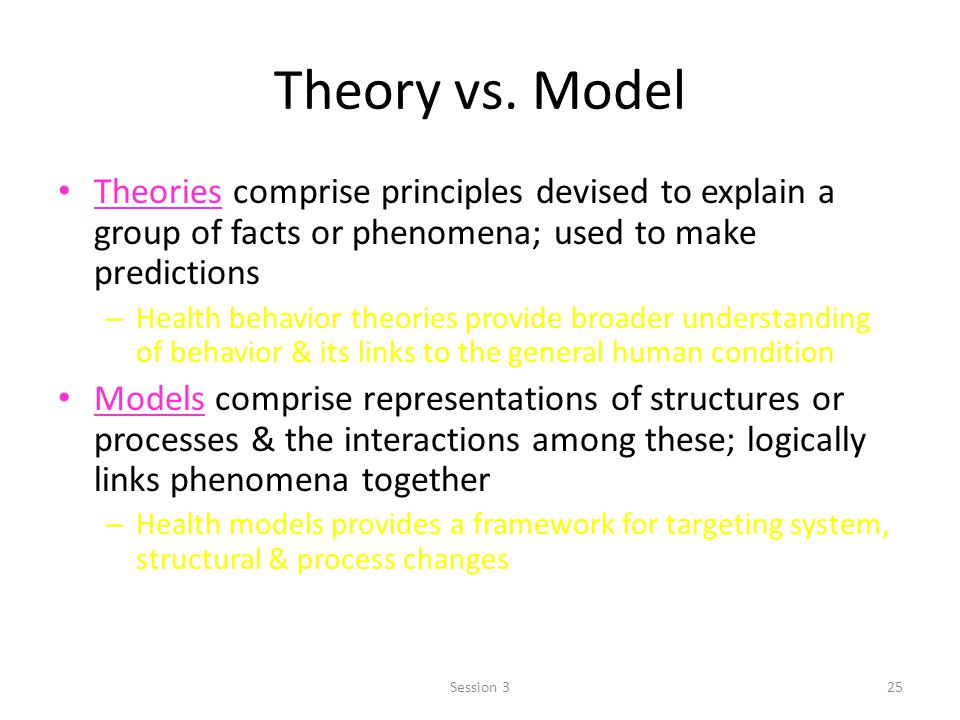 Theory vs. Model Theories comprise principles devised to explain a group of facts or phenomena; used to make predictions.