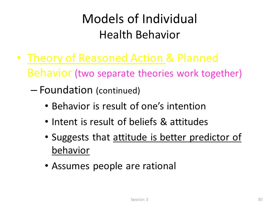 models of health behavior