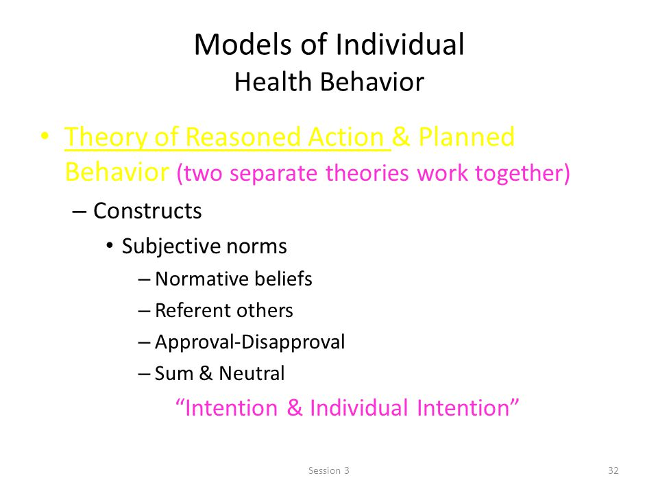 Models of Individual Health Behavior