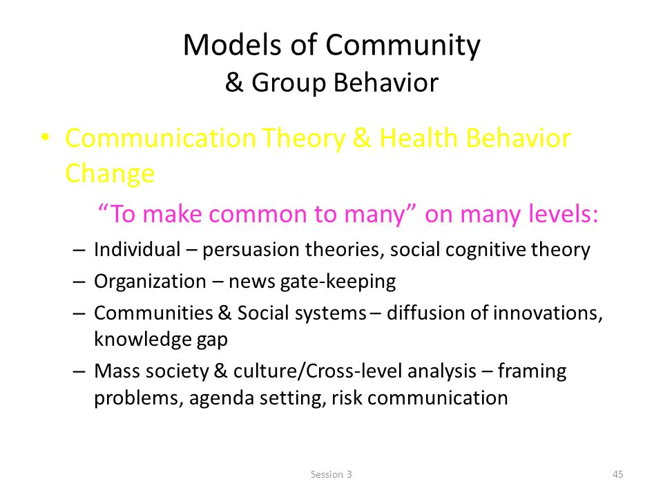 Models of Community & Group Behavior