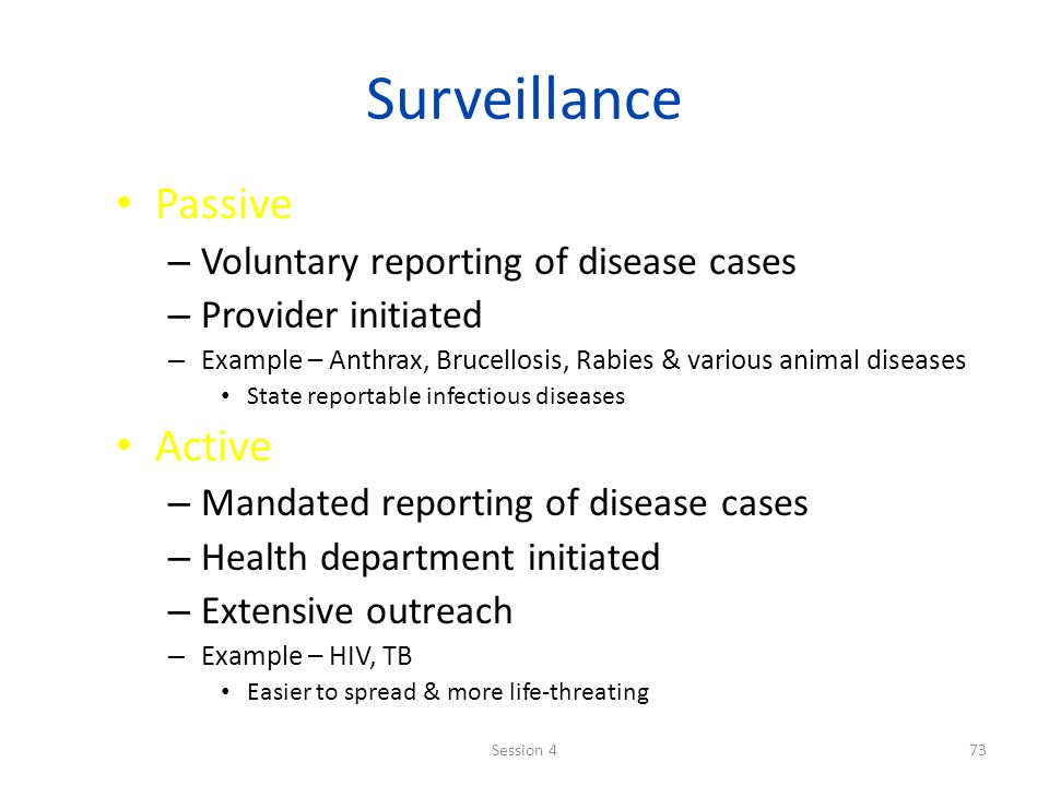 Surveillance Passive Active Voluntary reporting of disease cases