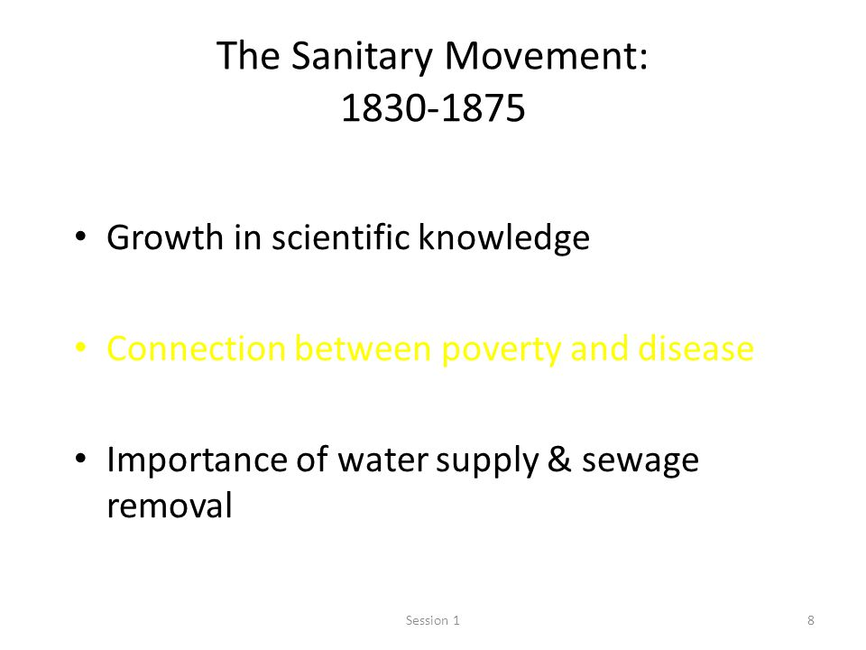 The Sanitary Movement: 1830-1875
