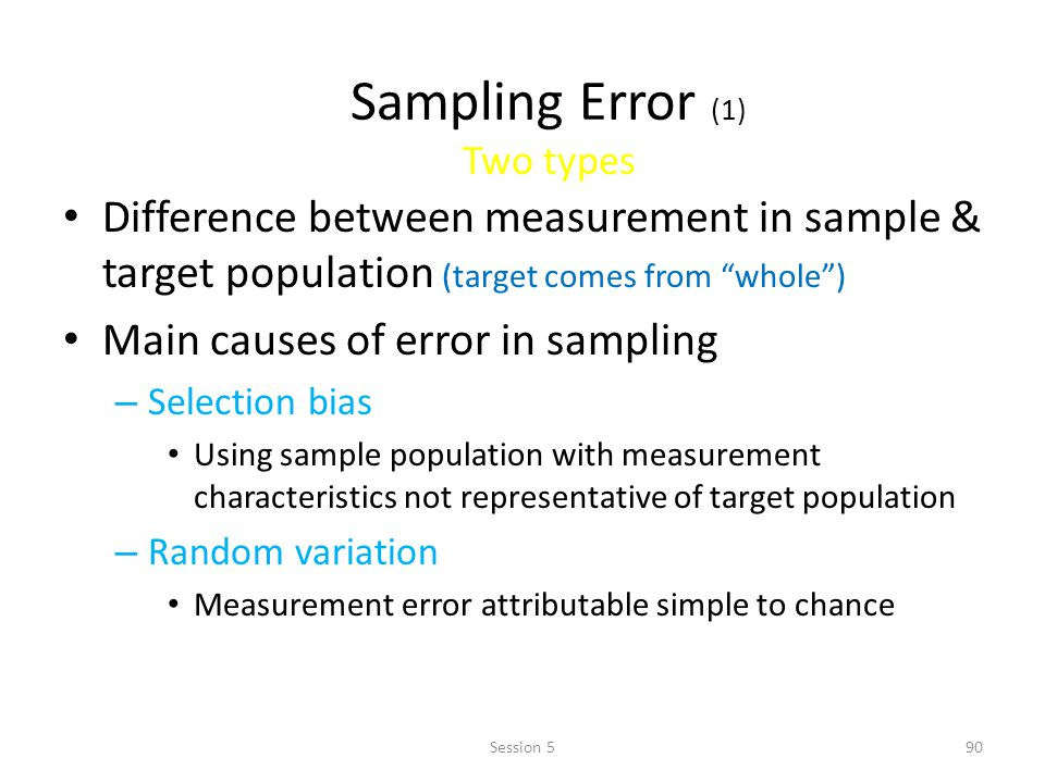 Sampling Error (1) Two types