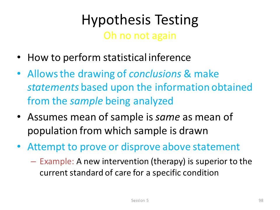 Hypothesis Testing Oh no not again