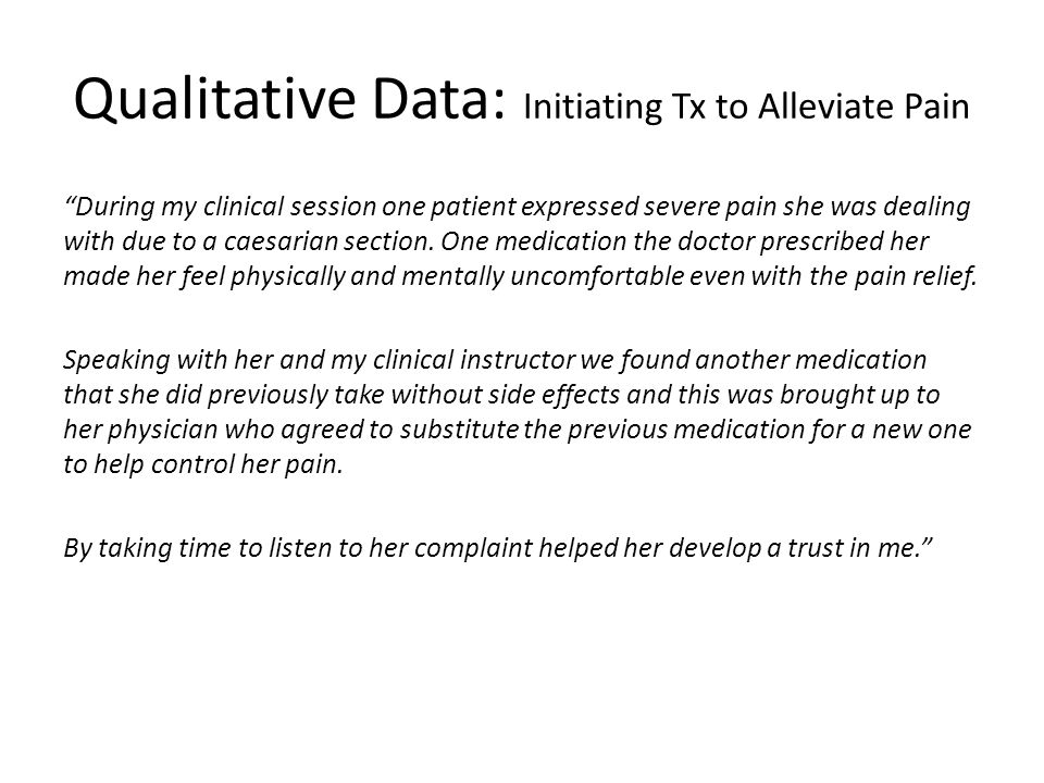 Qualitative Data: Initiating Tx to Alleviate Pain