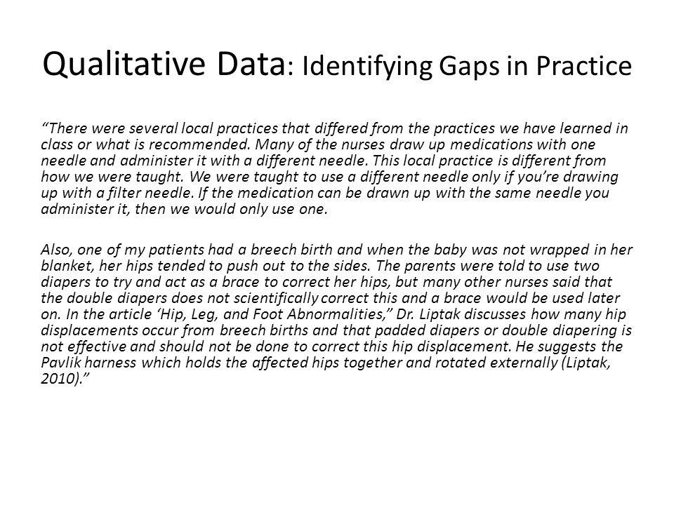 Qualitative Data: Identifying Gaps in Practice
