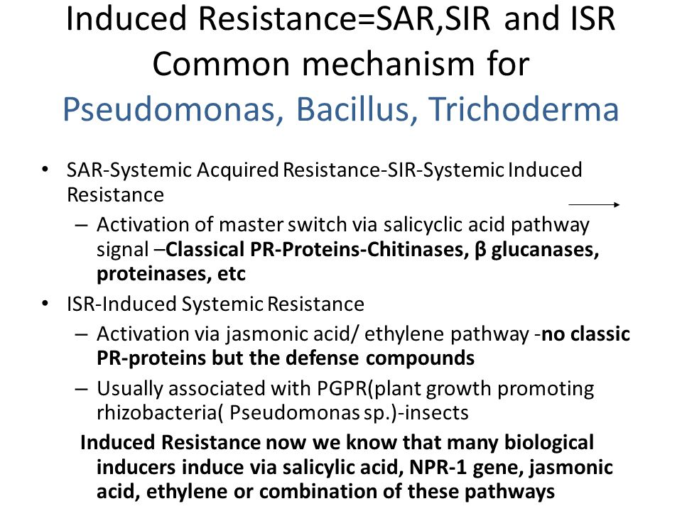 Induced Resistance=SAR,SIR and ISR Common mechanism for Pseudomonas, Bacillus, Trichoderma