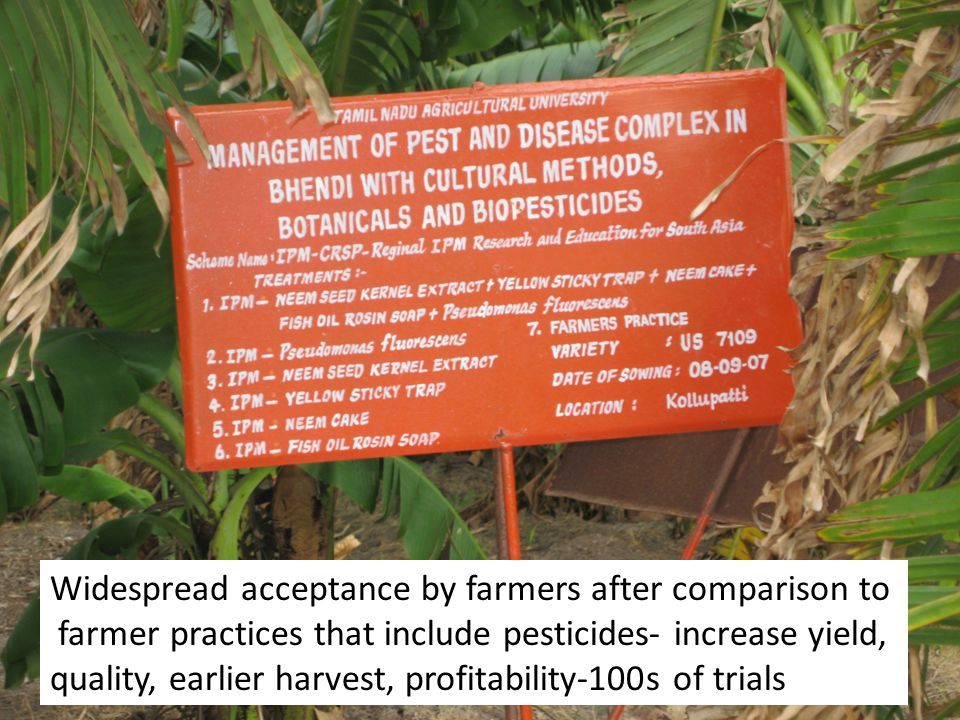 Widespread acceptance by farmers after comparison to
