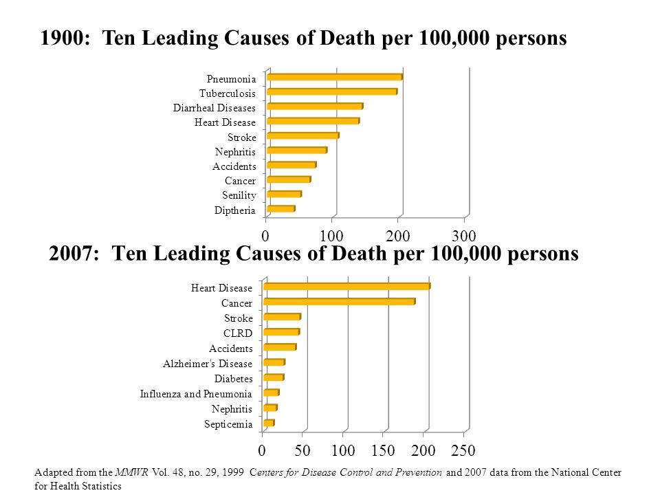 2007: Ten Leading Causes of Death per 100,000 persons