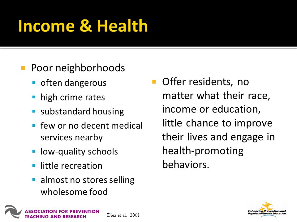 Income & Health Poor neighborhoods