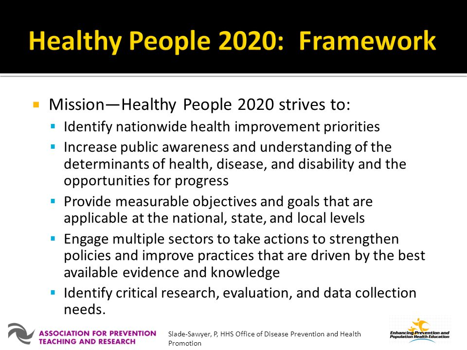 Healthy People 2020: Framework