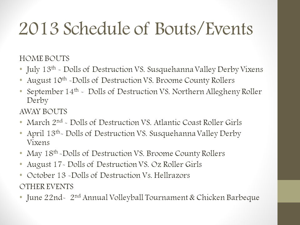 2013 Schedule of Bouts/Events