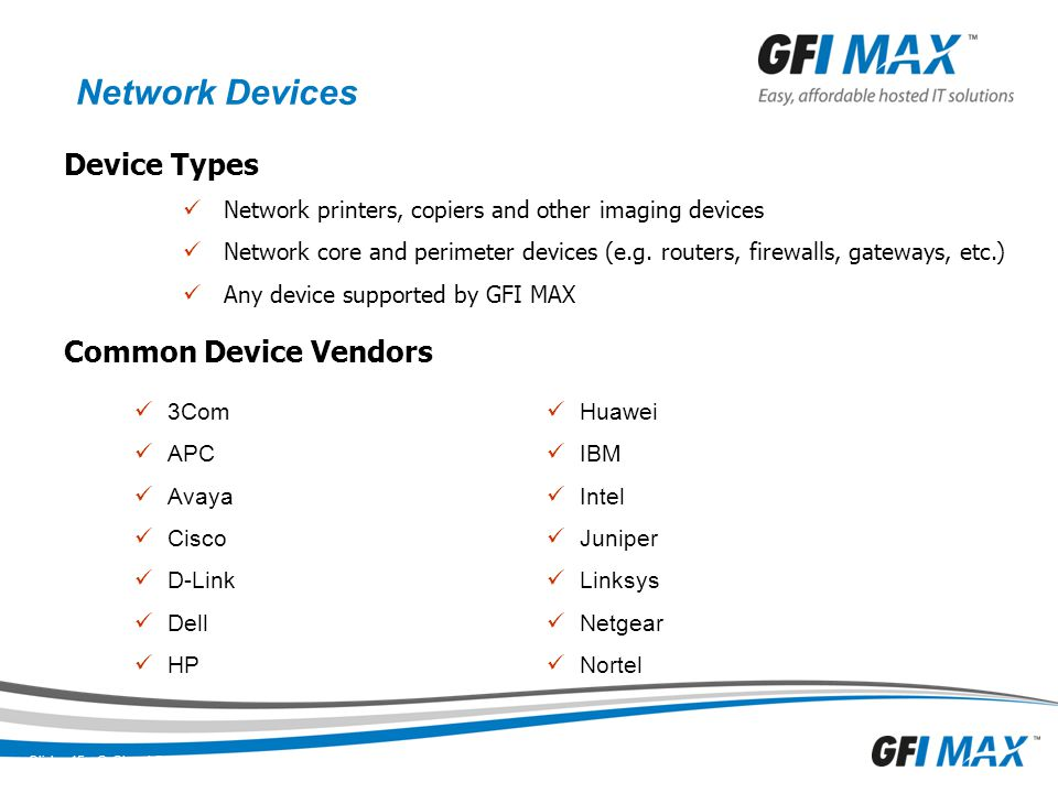 Network Devices Device Types Common Device Vendors