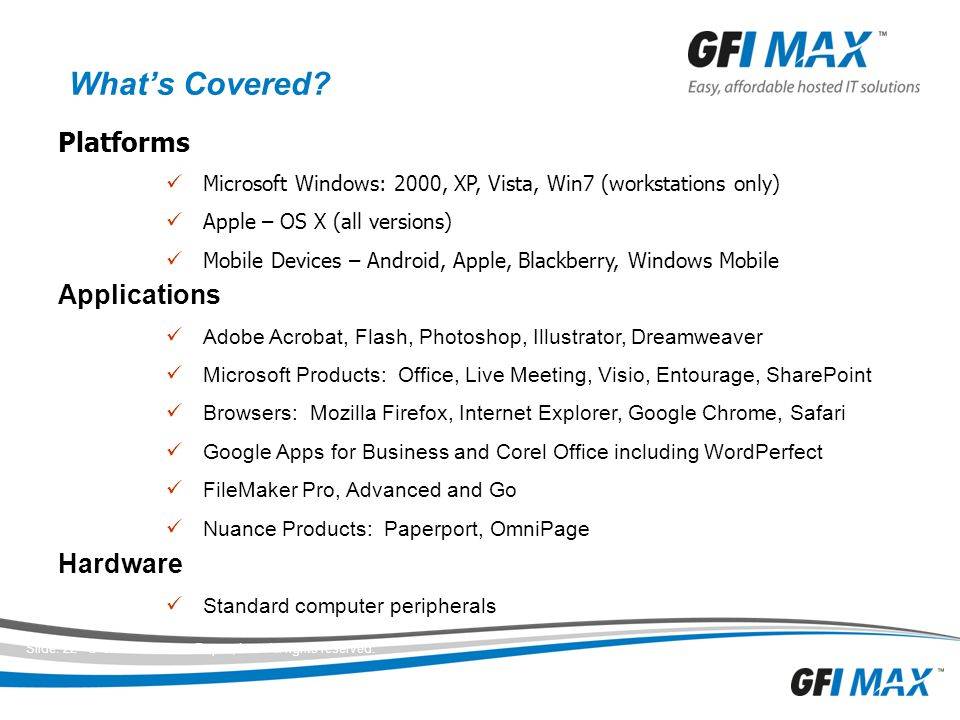 What's Covered Platforms Applications Hardware