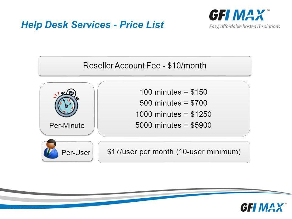 Help Desk Services - Price List