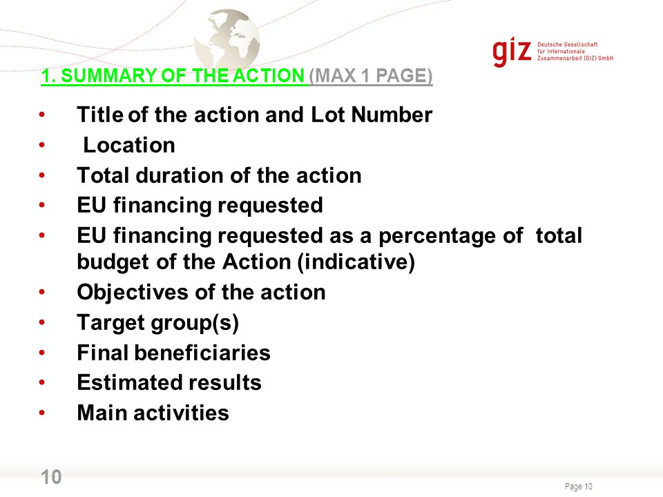 Title of the action and Lot Number Location