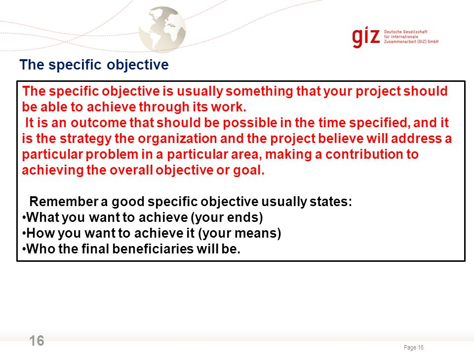 The specific objective
