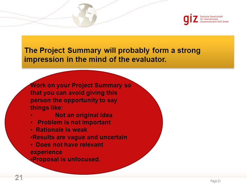 The Project Summary will probably form a strong impression in the mind of the evaluator.