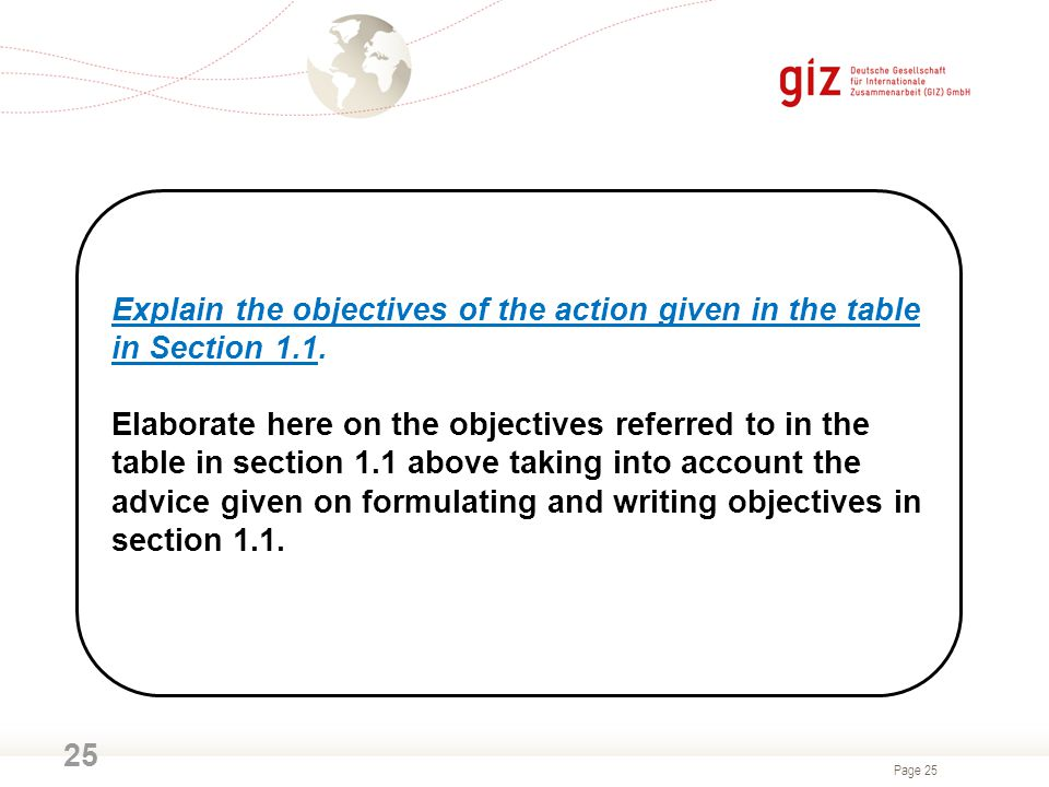 Explain the objectives of the action given in the table in Section 1.1.