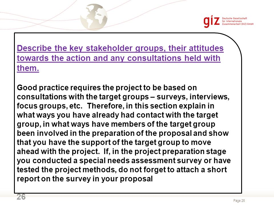 Describe the key stakeholder groups, their attitudes towards the action and any consultations held with them.