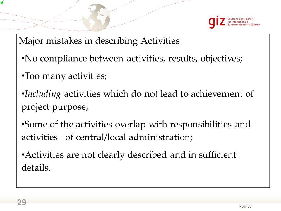 Major mistakes in describing Activities
