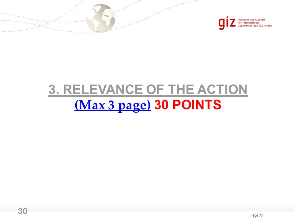 3. RELEVANCE OF THE ACTION